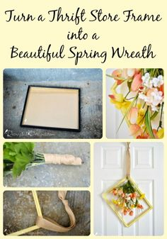 Create a Beautiful Spring Picture Frame Wreath using an old thrift store frame by Recreated Designs.
