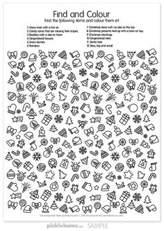 Christmas find and colour - a fun free printable activity  Opdracht op het digibord met plaatjes?