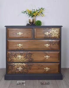 Diy Furniture Projects, Refurbished Furniture, Repurposed Furniture, Upscale Furniture, Hand Painted Furniture, Paint Furniture, Furniture Makeover, Stenciling Furniture, Stencil Dresser