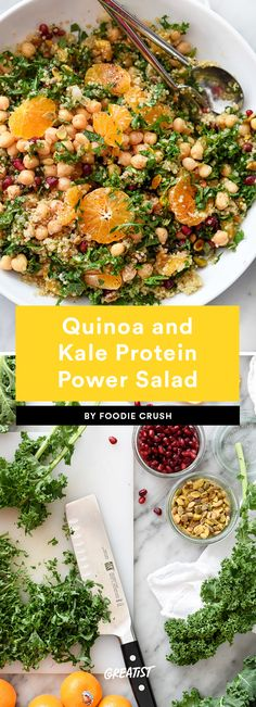 Quinoa and Kale Protein Power Salad Recipes protein 9 Protein-Packed Salads That Won't Leave You Hungry Vegetarian Recipes Videos, High Protein Vegetarian Recipes, Healthy Pasta Recipes, Healthy Pastas, Salad Recipes, Quinoa And Kale Recipes, Vegetarian Food, High Protein Salads, Healthy Protein