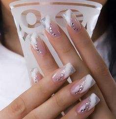 Nail Art Ideas Would be pretty for a wedding look.