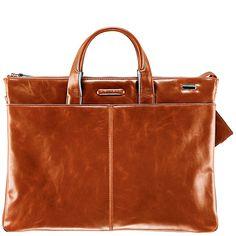 Piquadro Blue Square Erweiterbare, schmale Kurzgrifftasche mit doppeltem Fach orange