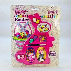 Lisa Frank Vintage 1989 Happy Easter Basket Bunny Memo Pad Confetti Stickers Set