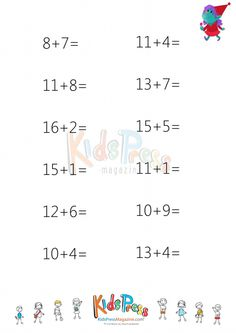 Sums to 20 Worksheet – #5  #beginner #math #simple #addition #free