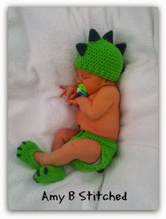 A Stitch At A Time for Amy B Stitched: DINOSAUR BABY Hat and Diaper Cover set FREE PATTERN
