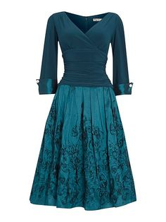 3/4 cuff sleeve dress with pleated skirt