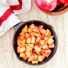 This recipe for vegan & paleo Stovetop Cinnamon apples taste like a warm apple pie, but they're made in a fraction of the time & are super healthy!