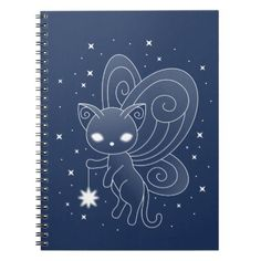#Pixie Cat - Fairy Wings Kitty Notebook - #office #gifts #giftideas #business