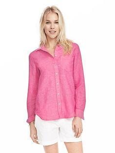 Dillon-Fit Linen/Cotton Shirt   Banana Republic