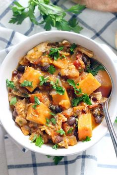 This chicken, sweet potato, and black bean stew is healthy, slightly smoky, and slightly sweet. It's packed with nutrients, gluten free, grain free, and absolutely delicious! Plus, you can make it in about 30 minutes.