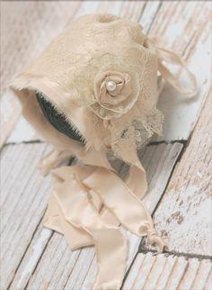 Newborn Bonnet Newborn Photo Prop  French Lace and silk charmeuse bonnet Bonnet Baby girl Couture Bonnet