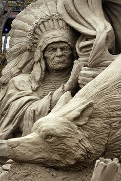 by NW Sand Festival, Indian chief and wolf