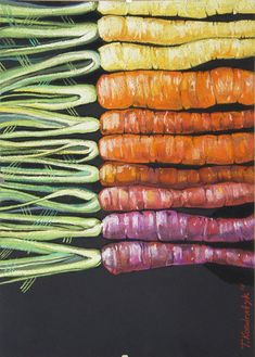 """Original Soft Pastel Painting, """"Carrots"""" Kitchen Art, Colour, Artwork, Pastel Drawing by HEARTartROOM on Etsy"""