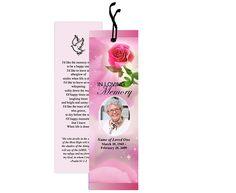Memorial Bookmarks Petals Bookmark Template Layout
