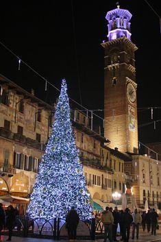 Christmas tree in Piazza della Erbe, Verona, Veneto, Italy