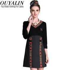 L- 5XL Retro Style  Autumn Dress   V neck 3/4 Sleeve Slim Cut High Waist Short