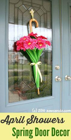 Sew Can Do: Easy Spring Decor: April Showers Door Umbrellas