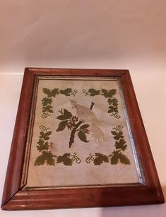 Antique 19th c. Punch Paper Needlework Embroidered Sampler Cross StitchBirds eye
