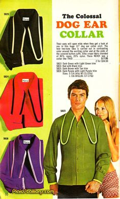 """""""The spectacularness of the Colossal Dog Ear Collar shirt is clearly expressed by the girl's adoring eyes. Fashion Fail, Weird Fashion, 70s Fashion, Vintage Fashion, Fashion History, Funny Fashion, Fashion Men, Vintage Advertisements, Vintage Ads"""