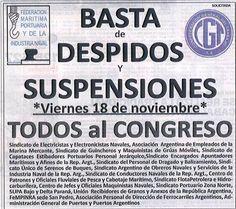 CRÓNICA FERROVIARIA: Convocatoria al Congreso Nacional por despidos y s...