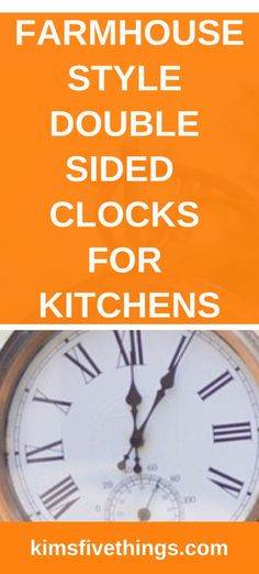 Farmhouse double sided clock ideas. Oversized rustic wall clocks. Large double sided station clock ideas. #farmhousekitchendecor #farmhousekitchenstyle #kitchenclocks Outdoor Wall Clocks, Rustic Wall Clocks, Rustic Walls, Farmhouse Style Kitchen, Rustic Kitchens, Wall Clock With Pictures, Train Station Clock, Wall Clock Luxury, Shabby Chic Wall Clock