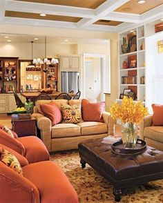 Warm Family Room Colors : Good Family Room Colors for The Walls – Better Home . - Warm Family Room Colors : Good Family Room Colors for The Walls – Better Home and Garden - Chic Living Room, Cozy Living Rooms, Home Living Room, Living Room Furniture, Living Room Decor, Apartment Living, Orange Living Rooms, Men Apartment, Cottage Living
