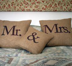 """MR & MRS"" Cushion Set - Folksy"