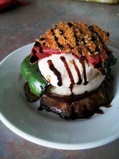 Grilled Vegetable Napoleon with Prosciutto Crisp, Parmesan Tuile and Roasted Garlic Aioli