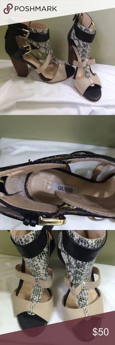 Guess sandals Super sexy leather sandals with chunky heels. Great condition only worn twice! Guess Shoes Sandals