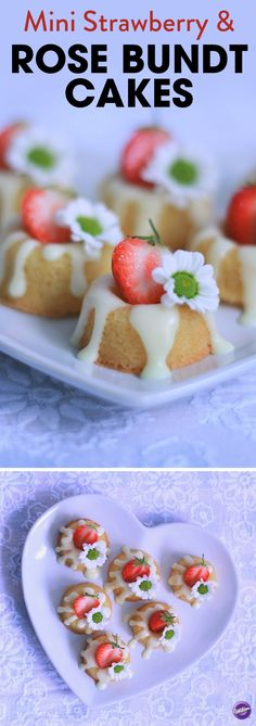 Mini Strawberry and Rose Bundt Cakes Recipe - The Queen herself would be happy to serve these at one of her garden parties! Yummy bites of summer in one hit made with the classic flavour combination of Strawberries and Rose. Baked using the Wilton Mini Doughnut tin, these treats look like fashionable little bundt cakes.