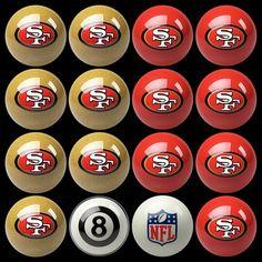 NFL Team-Inspired Set of 16 Billiard Balls