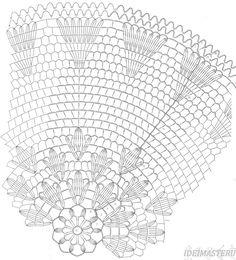Салфетка круглая вязаная крючком Ажурная, воздушная, с образующими лепестками трилистниками из центра.Схема
