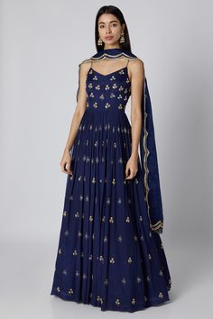 Blue Embroidered Anarkali With Dupatta Design by Ease at Pernia's Pop Up Shop - Source by tasfihassan - Casual Indian Fashion, Indian Fashion Dresses, Dress Indian Style, Indian Gowns, Indian Attire, Fashion Outfits, Ethnic Outfits, Ethnic Dress, Indian Ethnic Wear