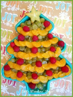Use a Christmas tree cake pan or serving dish (or any other holiday cake pan) for the serving bowl. Then arrange fruit, veggies, or cheese in a fun pattern.