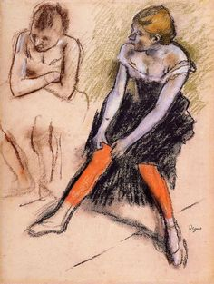 Edgar Degas Ancer with Red Stockings C