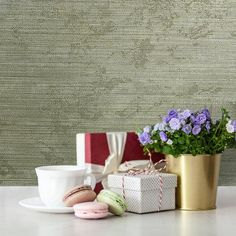 Wallpaper Olive Green Metallic Textured Plain faux grasscloth 3D wallcoverings