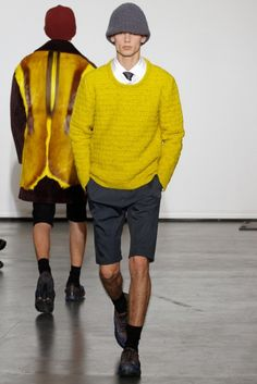 #raf simons #fw2012-13 #yellow sweater #fall shorts