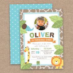 First Boy Jungle Birthday Invitation, Safari Animals, DIY Printable