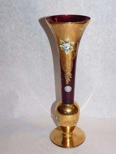 "MURANO Hand Made 24KT Raised Gold Red ART GLASS Venetian 10"" Bud Vase Label"