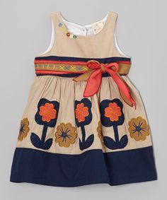 Take a look at this Khaki Flower Dress - Infant, Toddler & Girls by the Silly Sissy on #zulily today!