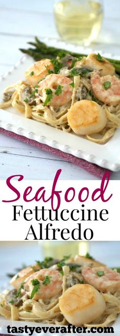 Shrimp, scallops, and mushrooms in a creamy, cheesy sauce tossed with noodles for a comfort meal that's perfect for family night or a romantic dinner for two!