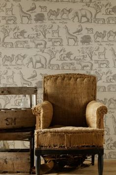 For a little guy's room.  Ark Wallpaper - 10m Roll - Parchment Sand or Cloud Colourways