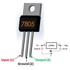 icu ~ 7805 Voltage Regulator Pin Diagram in 2019 Simple Electronics, Hobby Electronics, Electronics Components, Electronics Projects, Electronic Circuit Projects, Electrical Projects, Electronic Engineering, Electrical Engineering, Electronic Schematics
