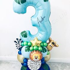 The amazing little Luca is turning one 🐯🦁🐘🐒🌳 Balloon Display, Balloon Backdrop, Balloon Columns, Balloon Wall, Balloon Garland, Its A Boy Balloons, Large Balloons, Number Balloons, Balloon Crafts
