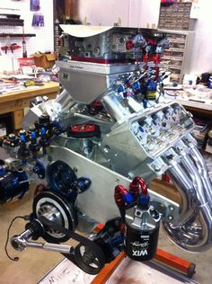 Sam Vincent's nitrous guzzling, 461 cubic inch small block Ford getting ready to go back in his racecar for the Lights Out Race this weekend