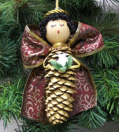 Large Ribbon Pinecone Angel Christmas Ornament by mawickecreations, $12.00