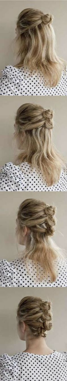 Mini-bun hairstyle {would be great for work, dates, running errands, etc}