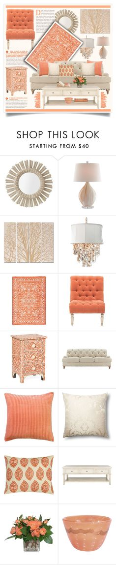 A home decor collage from February 2016 featuring eco friendly furniture, rounded chair and white accent table. White Accent Table, Round Chair, Interior Decorating, Interior Design, Williams Sonoma, Decorative Pillows, Living Room Decor, Salmon, Taupe