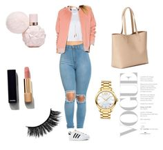 """""""Pink casual outfit"""" by beautychecks on Polyvore featuring mode, RE/DONE, adidas, Lovers + Friends, Old Navy, Chanel, Bølo en Movado"""