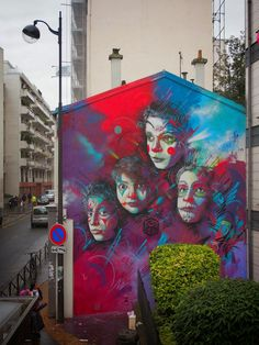 C215 new big mural on the streets of Paris, France. 2014